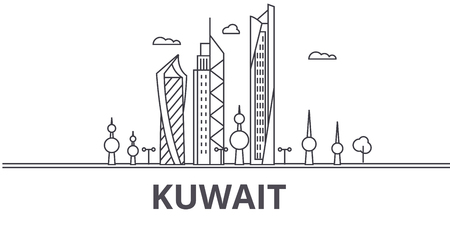 Kuwait architecture line skyline illustration. Linear vector cityscape with famous landmarks, city sights, design icons. Editable strokes Ilustracja