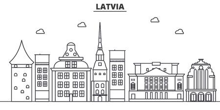 ラトビア建築線スカイラインの図。有名なランドマーク、観光、デザイン アイコンと線形ベクトル街並み。編集可能なストローク