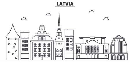 Ilustración de horizonte de línea de arquitectura de Letonia. Paisaje urbano vector lineal con monumentos famosos, monumentos de la ciudad, iconos de diseño. Trazos editables Foto de archivo - 87743874