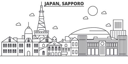 Japan, Sapporo-de horizonillustratie van de architectuurlijn. Lineaire vector stadsgezicht met beroemde bezienswaardigheden, bezienswaardigheden van de stad, ontwerp pictogrammen. Bewerkbare lijnen Stock Illustratie