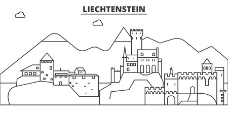 Liechtenstein architecture line skyline illustration. Linear vector cityscape with famous landmarks, city sights, design icons. Editable strokes