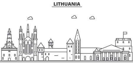 リトアニア建築線スカイラインの図。有名なランドマーク、観光、デザイン アイコンと線形ベクトル街並み。編集可能なストローク