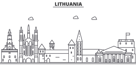 Lithuania architecture line skyline illustration. Linear vector cityscape with famous landmarks, city sights, design icons. Editable strokes Stock Illustratie