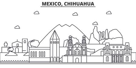 Mexico, Chihuahua architecture line skyline illustration.