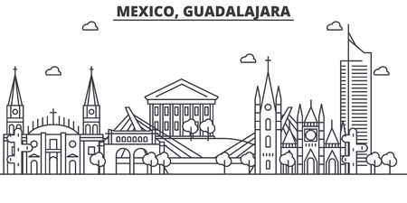 Mexico, Guadalajara architecture line skyline illustration.