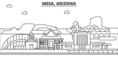 メサ、アリゾナ州建築線スカイラインの図。有名なランドマーク、観光、デザイン アイコンと線形ベクトル街並み。編集可能なストローク