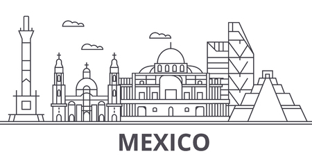 Mexico architecture line skyline illustration. Linear vector cityscape with famous landmarks, city sights, design icons. Editable strokes
