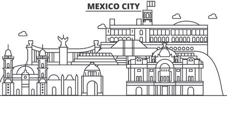 メキシコシティ建築線スカイラインの図。有名なランドマーク、観光、デザイン アイコンと線形ベクトル街並み。編集可能なストローク  イラスト・ベクター素材