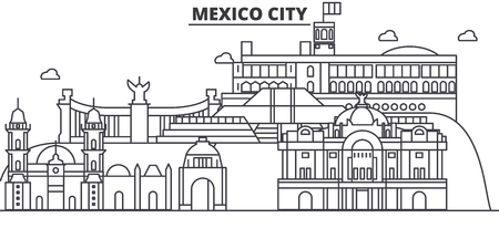 Mexico City architecture line skyline illustration. Linear vector cityscape with famous landmarks, city sights, design icons. Editable strokes