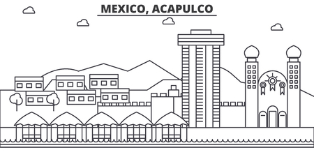 Mexico, Acapulco architecture line skyline illustration. Linear vector cityscape with famous landmarks, city sights, design icons. Editable strokes
