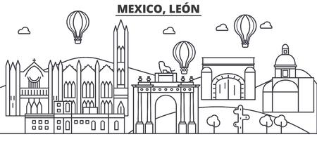 メキシコ、レオン建築線スカイラインの図。有名なランドマーク、観光、デザイン アイコンと線形ベクトル街並み。編集可能なストロークのある風  イラスト・ベクター素材