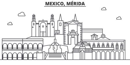 멕시코, 메리다 건축 라인 스카이 라인 그림입니다. 선형 벡터 도시의 유명한 랜드 마크, 도시 명소, 디자인 아이콘. 편집 가능한 스트로크와 풍경 일러스트