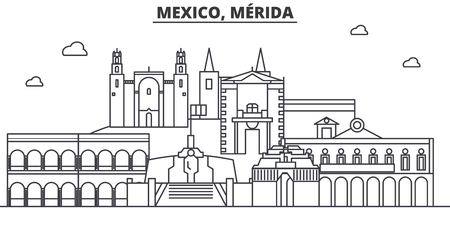 Mexico, Merida architecture line skyline illustration. Linear vector cityscape with famous landmarks, city sights, design icons. Landscape wtih editable strokes
