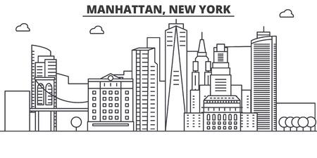 マンハッタン、ニューヨーク建築線スカイラインの図。有名なランドマーク、観光、デザイン アイコンと線形ベクトル街並み。編集可能なストロー