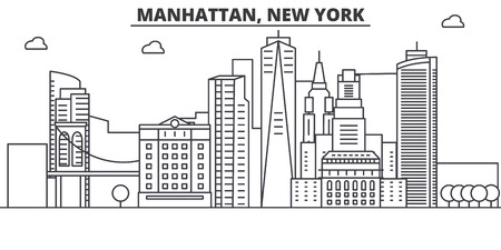 Manhattan, New York architecture line skyline illustration. Linear vector cityscape with famous landmarks, city sights, design icons. Editable strokes
