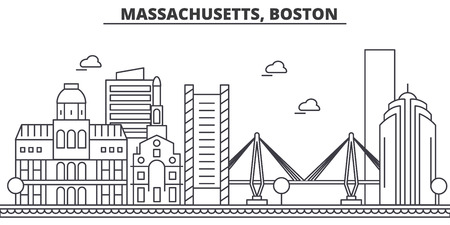 マサチューセッツ州ボストン建築線スカイラインの図。有名なランドマーク、観光、デザイン アイコンと線形ベクトル街並み。編集可能なストロー  イラスト・ベクター素材