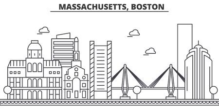 매사 추세 츠, 보스턴 아키텍처 라인 스카이 라인 그림입니다. 선형 벡터 도시의 유명한 랜드 마크, 도시 명소, 디자인 아이콘. 편집 가능한 스트로크 스톡 콘텐츠 - 87743891