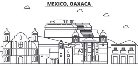 メキシコ、オアハカ州建築線スカイラインの図。有名なランドマーク、観光、デザイン アイコンと線形ベクトル街並み。編集可能なストローク