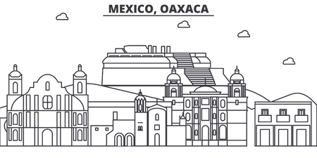 Mexico, Oaxaca architecture line skyline illustration. Linear vector cityscape with famous landmarks, city sights, design icons. Editable strokes
