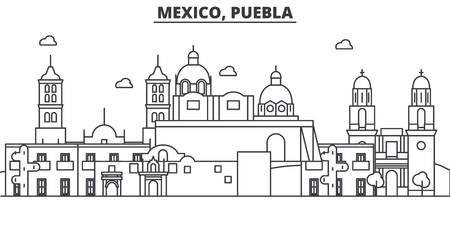 Mexico, Puebla architecture line skyline illustration. Linear vector cityscape with famous landmarks, city sights, design icons. Editable strokes
