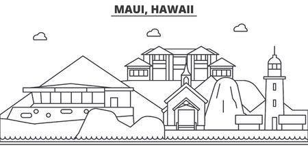 マウイ島、ハワイ建築線スカイラインの図。有名なランドマーク、観光、デザイン アイコンと線形ベクトル街並み。編集可能なストローク  イラスト・ベクター素材