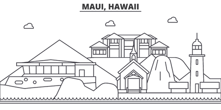 Maui, Hawaii architecture line skyline illustration. Linear vector cityscape with famous landmarks, city sights, design icons. Editable strokes Illustration