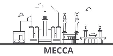 Mecca architecture line skyline illustration. Illustration