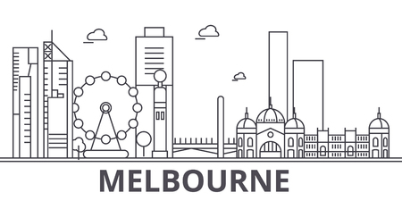 Melbourne architecture line skyline illustration. Vectores
