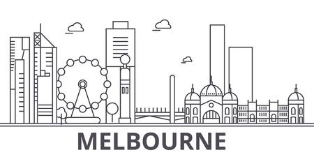 Melbourne architecture line skyline illustration. Illustration