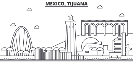 Mexico, Tijuana architecture line skyline illustration.