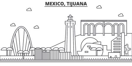 Mexique, Tijuana architecture ligne skyline illustration. Banque d'images - 87747871