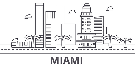 Miami architecture line skyline illustration.