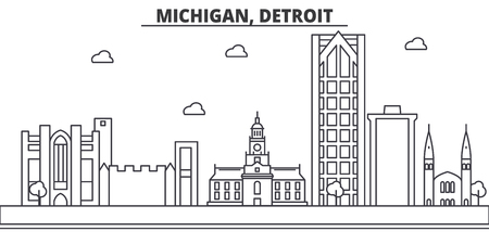 Michigan, Detroit architecture line skyline illustration.