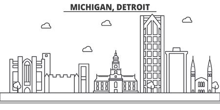 Michigan, Detroit architecture line skyline illustration.