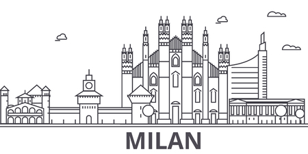 Milan architecture line skyline illustration. Vettoriali