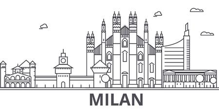 Milan architecture line skyline illustration. Illustration