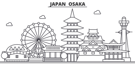 A Japan, Osaka architecture line skyline illustration.