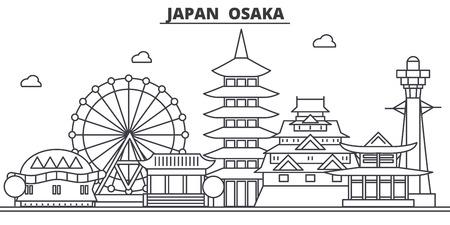 A Japan, Osaka architecture line skyline illustration.