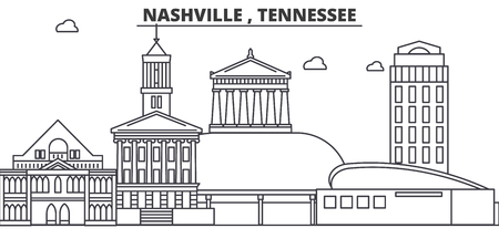 Nashville , Tennessee architecture line skyline illustration. Stock Vector - 87747878
