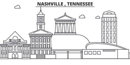 Nashville , Tennessee architecture line skyline illustration. Illustration
