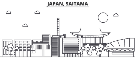 A Japan, Saitama architecture line skyline illustration. Illustration