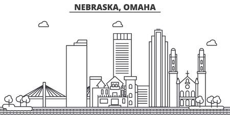 ネブラスカ州オマハ建築線スカイラインの図。  イラスト・ベクター素材