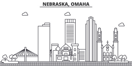 Nebraska, Omaha architecture line skyline illustration. 向量圖像