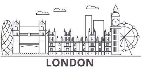 London architecture line skyline illustration.