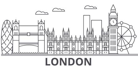 London architecture line skyline illustration.