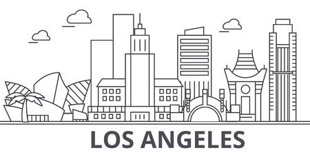 ロサンゼルス建築線スカイラインの図。  イラスト・ベクター素材