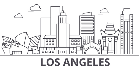 Los Angeles architecture line skyline illustration.