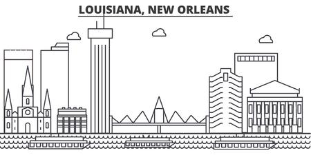 루이지애나, 뉴 올 리 언 즈 건축 라인 스카이 라인 그림. 일러스트