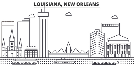 Louisiana, New Orleans architecture line skyline illustration. Ilustração