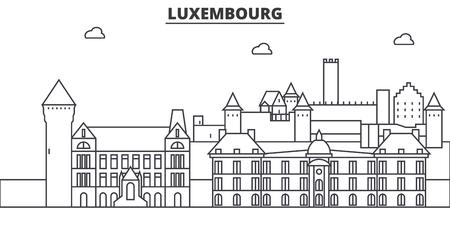 De horizonillustratie van de de architectuurlijn van Luxemburg. Stock Illustratie